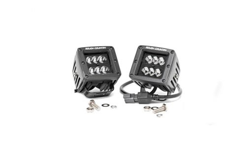 2IN Square Cree LED Lights - (Pair | Black Series) | Rough Country 70903BL
