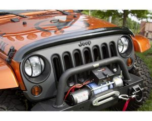 Rugged Ridge 11350.02 Wraparound Bug Deflector, Smoke; 07-17 Jeep Wrangler JK