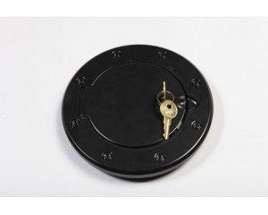 Locking Gas Cap Door, Black Aluminum; 07-17 JK | Rugged Ridge 11425.06