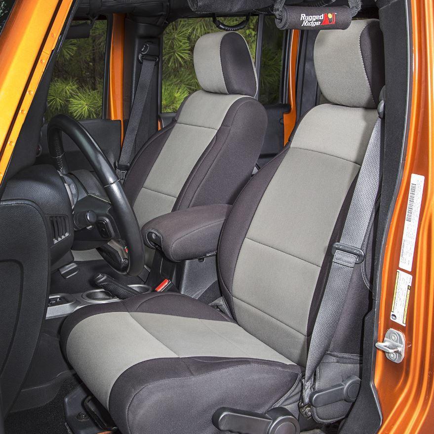 Jeep Wrangler Seat Covers >> Rugged Ridge 13215 09 Neoprene Front Seat Covers Black Gray 11 17 Jeep Wrangler Jk