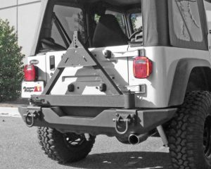 Rugged Ridge 11546.42 Tire Carrier, XHD Rear Bumper; 76-06 Jeep CJ/Wrangler YJ/TJ